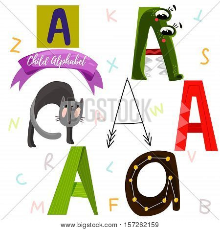 Bright Alphabet Set In Vector.a Letter-stylish 6 Hand Drawn Letters In Different Designs.cartoon Abs
