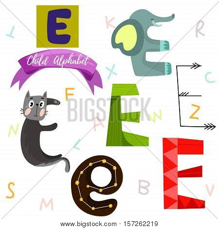 Bright Alphabet Set In Vector.e Letter-stylish 6 Hand Drawn Letters In Different Designs.cartoon Abs