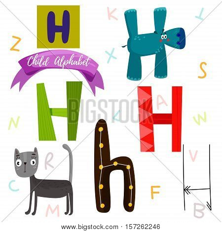 Bright Alphabet Set In Vector.h Letter-stylish 6 Hand Drawn Letters In Different Designs.cartoon Abs
