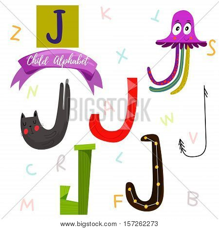 Bright Alphabet Set In Vector.j Letter-stylish 6 Hand Drawn Letters In Different Designs.cartoon Abs