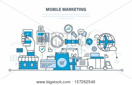 Mobile marketing, analysis and statistics, e-shop, acquisition cycle of products from product selection and payment, to delivery. Illustration thin line design of vector doodles, infographic elements.