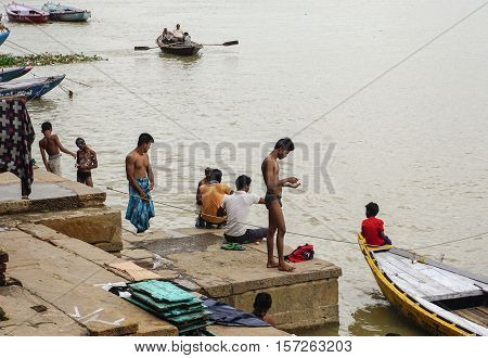 People Wash Themselves In The River Ganges In India