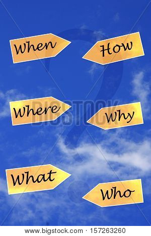 who when why what when how signs with sky background