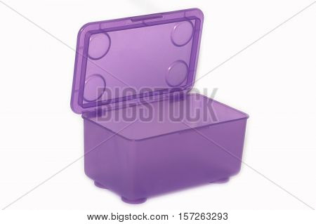 Purple box made of plastic. Subject designed for storing small things.