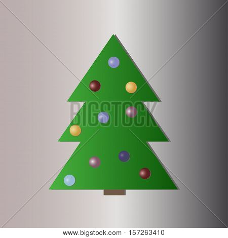Christmas tree with decorations flat icon - vector