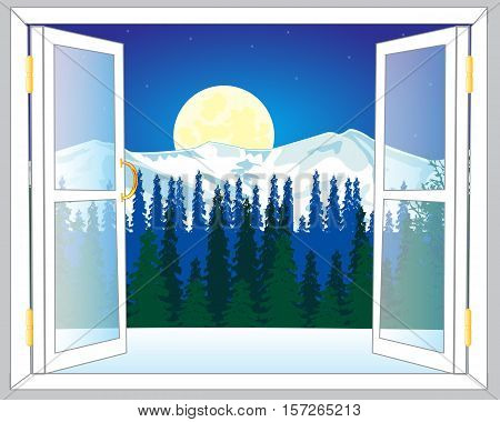 Open window and beautiful view on mountains and wood in winter
