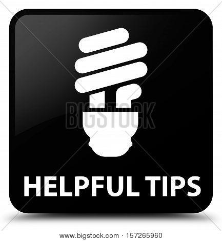 Helpful Tips (bulb Icon) Black Square Button