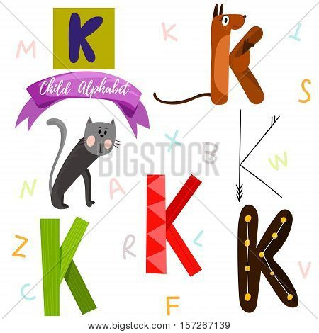 Bright Alphabet Set In Vector.k Letter-stylish 6 Hand Drawn Letters In Different Designs.cartoon Abs