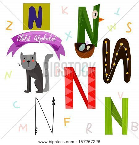 Bright Alphabet Set In Vector.n Letter-stylish 6 Hand Drawn Letters In Different Designs.cartoon Abs