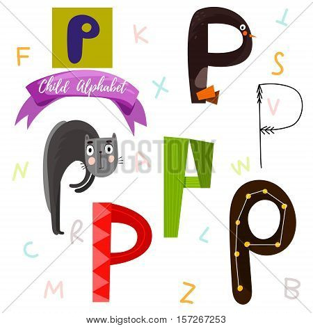 Bright Alphabet Set In Vector.p Letter-stylish 6 Hand Drawn Letters In Different Designs.cartoon Abs