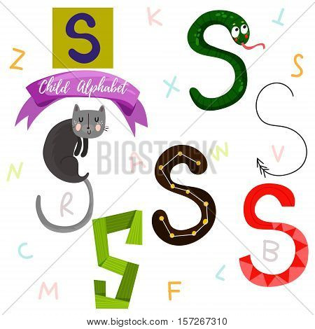Bright Alphabet Set In Vector.s Letter-stylish 6 Hand Drawn Letters In Different Designs.cartoon Abs