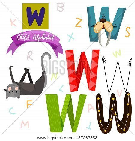 Bright Alphabet Set In Vector.w Letter-stylish 6 Hand Drawn Letters In Different Designs.cartoon Abs