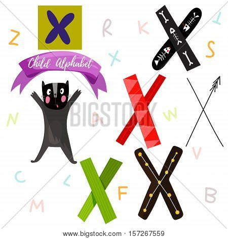 Bright Alphabet Set In Vector.x Letter-stylish 6 Hand Drawn Letters In Different Designs.cartoon Abs