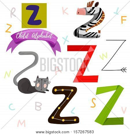 Bright Alphabet Set In Vector.z Letter-stylish 6 Hand Drawn Letters In Different Designs.cartoon Abs