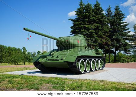 SAINT PETERSBURG, RUSSIA - JUNE 29, 2015: Tank T34-85 at the memorial