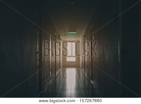 Building Interior Emergency Exit with Exit Sign