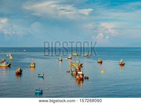 MUI NE, VIETNAM - April 28, 2014 - Fishing village in Mui Ne, Vietnam, Southeast Asia