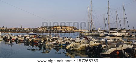 a view of the port of Rethymno Crete Crete Rethymno Greece port of Rethymno on 08 August 2016