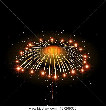 Firework bursting sparkle background. Isolated gold colorful night fire beautiful explosion celebration holiday Christmas New Year birthday. Symbol festive anniversary Vector illustration