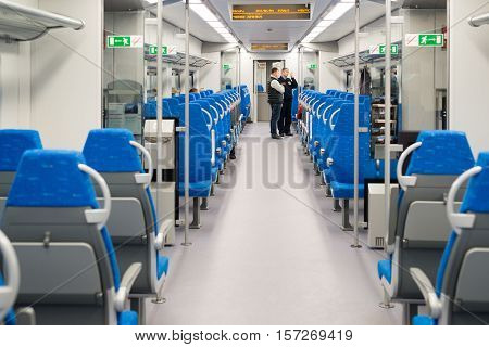 Moscow, Russia - October 03 2015. Interior high-speed electric train in a Moscow, Russia