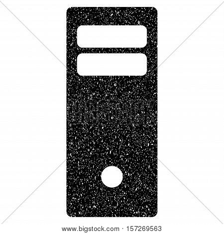 Computer Mainframe grainy textured icon for overlay watermark stamps. Flat symbol with scratched texture. Dotted vector black ink rubber seal stamp with grunge design on a white background.