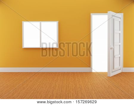 interior with door and window in loft design in 3D illustration. Non brand, sketches.