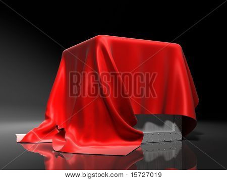 surprise - Box covered from above a red silk cloth