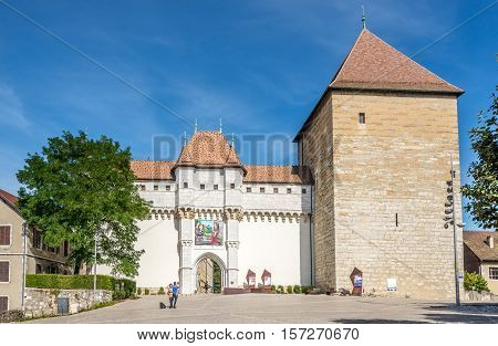 ANNECY,FRANCE - SEPTEMBER 2,2016 - Entry to Chateau of Annecy. Annecy is the largest city of Haute Savoie department in the Auvergne Rhone Alpes region in southeastern France.