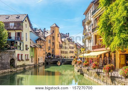 ANNECY,FRANCE - SEPTEMBER 2,2016 - River Thiou and streets in Annecy. Annecy is the largest city of Haute Savoie department in the Auvergne Rhone Alpes region in southeastern France.