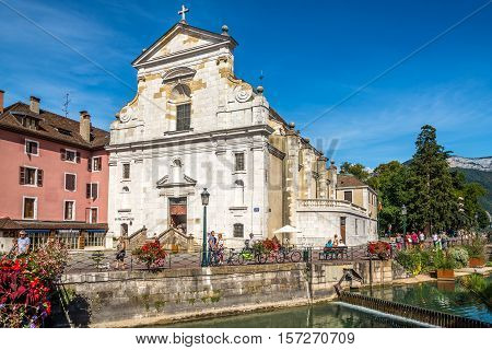 ANNECY,FRANCE - SEPTEMBER 2,2016 - Church of Saint Francois de Sales in Annecy. Annecy is the largest city of Haute Savoie department in the Auvergne Rhone Alpes region in southeastern France.