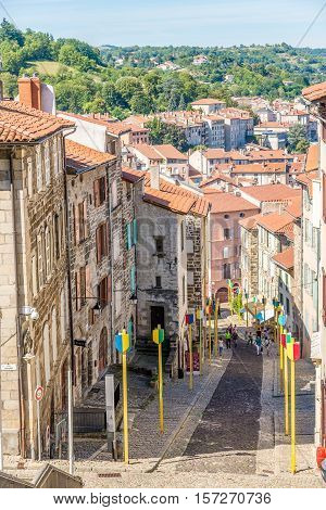 LE PUY EN VELAY,FRANCE - SEPTEMBER 2,2016 - View at the street of Lepuy en Velay. Le Puy en Velay is a commune in the Haute Loire department in south-central France near the Loire river.