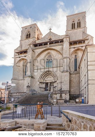 LA CHAISE DIEU,FRANCE - SEPTEMBER 2,2016 - View at the church in La Chaise Dieu. La Chaise Dieu is a commune in the Haute Loire department in south-central France.