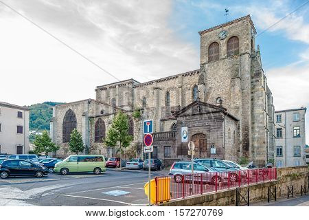 THIERS,FRANCE - SEPTEMBER 2,2016 - Church of Saint Genes in Thiers. Thiers is a commune in the Puy de Dome department in Auvergne in central France.