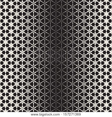 Triangular Star Shapes Halftone Lattice. Vector Seamless Black And White Pattern.