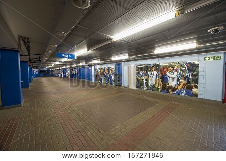 London, the UK - May 2016: Stamford Bridge stadium - the official  playground  of FC Chelsea