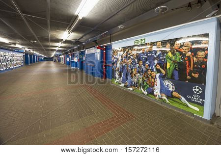 London, the UK - May 2016: Behind the curtains at Stamford Bridge stadium - the official playground  of FC Chelsea