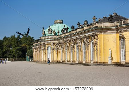 Potsdam Germany - August 27 2016: View of the Palace of Sanssouci famous landmark of Potsdam summer time