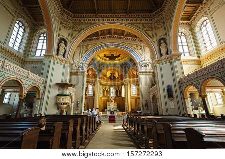 Potsdam Germany August 27 2016: Interior of the Saint Peter and Paul Church in Potsdam