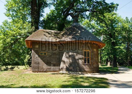 Potsdam Germany August 27 2016: Old wooden house near the Cecilienhof Palace in Potsdam in summer