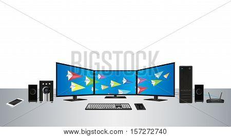 a multimonitor desktop personal computer set vector