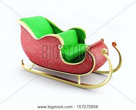 christmas santa sleigh on white background 3D illustration