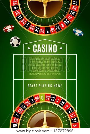 Casino online promotion poster with roulette wheel and chips with classical green game table background vector illustration