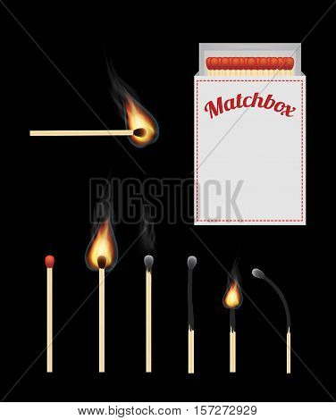 a set of real match and matchbox