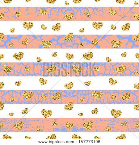 Gold grunge hearts craquelure stripes seamless pattern. Golden glitter confetti. White and pink background. Love Valentine day wedding design card wallpaper wrapping textile Vector Illustration