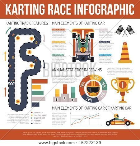 Flat karting motor race infographics presenting information about track features and main elements of cars vector illustration