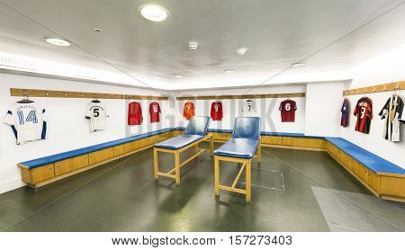 London, the UK - May 2016: in the guests changing room at  Stamford Bridge stadium - the official playground  of FC Chelsea