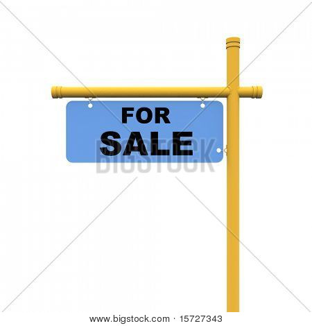For sale sign - isolated on white, with clipping path. Easy editable image.