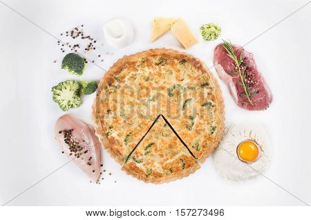 Tasty Pie With Chicken, Beef And Broccoli