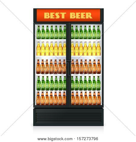 Realistic vertical freezer with transparent closed door and alcoholic drinks isolated vector illustration