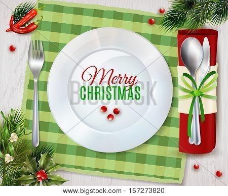 Christmas dinner table place with plate and cutlery holder for spoon and knife realistic poster vector illustration